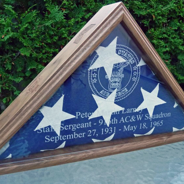 laser engraved, personalized flag display case